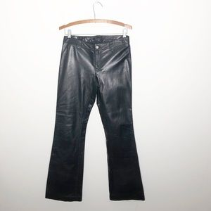 Theory bootcut black leather pants size 4